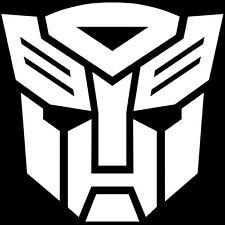 2x WHITE Transformers Autobot Vinyl Decal Sticker Car Hood Window Laptop iPad