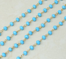 Turquoise Blue Rosary Chain - Gold Plated Wire Wrapped Rosary Chain.  5mm x 6mm