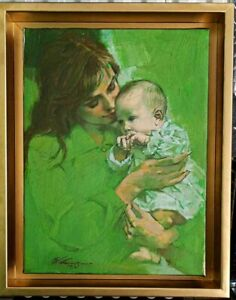 "Fernando Carcupino, ""Motherhood in Green"", 1979, oil/canvas, 18"" x 15.5""."