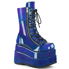Demonia BEAR-265 Womens Blue Purple Patent Tiered Platform Lace-Up Mid-Calf Boot