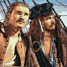 Disney Pirates of the Caribbean Tapestry Throw Blanket Jack Sparrow Will Turner