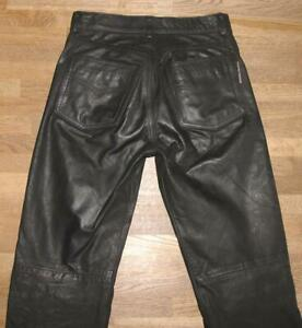 """ HARD LEATHER STUFF "" Leather Jeans/Nubuk- Leather Pants IN Black W28 "" / L32 """