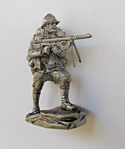 """1/30 French WWI Private with Machine Gun Tin Metal soldier 65 mm / 2,5"""" figure"""