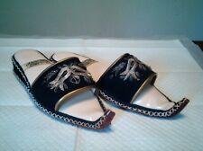 Rare Ahmet Topcu Genie Aladdin Black Silver Slippers Shoes 7 Curled Toe Vintage