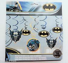 PACK OF 12 BATMAN SWIRLS HANGING PARTY DECORATIONS BOYS SUPER HERO BATS