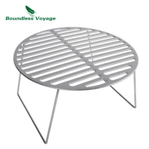 Titanium BBQ Grill Net with Folding Legs Outdoor Camping Hiking Grill Grate