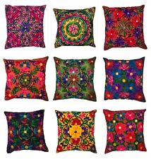 Indian Suzani Ethnic Vintage Cushion Cover Covers Embroidery Mirror Boho 16x16