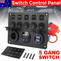 AU 5 Gang 12V Inline Fuse Box LED Switch Panel Dual USB Car Boat Truck Caravan