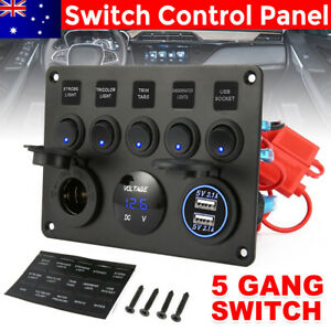 AU 5 Gang 12V Inline Fuse Box LED Switch Panel Dual USB Car Boat Truck Caravan