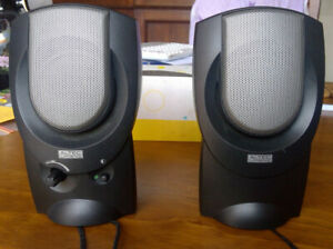 Altec Lansing AVS200 2.0 computer speakers, one stereo pair. NOTE: NO WALL WART