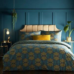 Teal Duvet Covers Decora Art Deco Cotton Blend Quilt Cover Bedding Sets by furn.