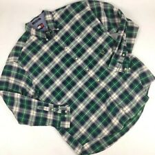 Tommy Hilfiger Men's Plaid Green Crest Logo Shirt