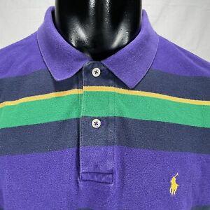 Polo Ralph Lauren Men's Long Sleeve Cotton Mesh Polo Shirt Sz L Purple Striped