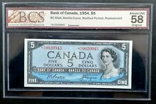 1954 Bank of Canada $5 *Beattie & Coyne* Replacement *A/C BCS AU-58 BC-39aA