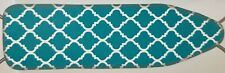 """Padded Ironing Board Cover & Pad (54"""" boards) Aqua Color & White Design,Woolite"""