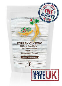 Korean Ginseng Veg Tablets Extract 3125mg Raw Herb ✔Made in UK