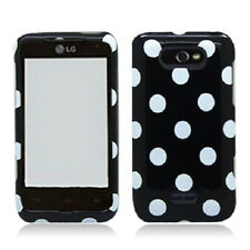 For LG Motion 4G / Optimus Regard HARD Case Snap On Phone Cover Black Polka Dots