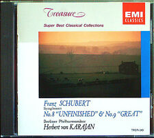 Karajan: Schubert Symphony No. 8 Unfinished 9 Great EMI cd HERBERT di