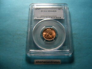 1947 LINCOLN PENNY WHEAT CENT MS64 RD MS 64 RED PCGS NICE COIN GREAT GIFT #5
