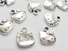 10 X ANTIQUE SILVER HELLO KITTY FACE CHARMS, CAT CHARMS, ANIMALPENDANTS, 3 for 2