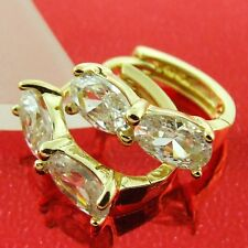 HUGGIE HOOP EARRINGS REAL 18K YELLOW GOLD G/F DIAMOND SIMULATED DESIGN FS3AN163
