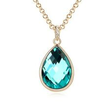 18K GOLD GP Made With SWAROVSKI Elements CRYSTAL Water Drop NECKLACE