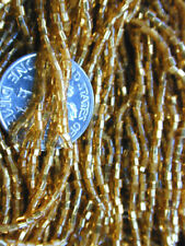 Antique Classic Victorian GOLD Czech Seed Beads Hex Cut TWO RARE Hanks SALE BUY!