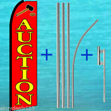 Auction Flutter Flag + 15' Pole + Mount Feather Swooper Banner Advertising Sign