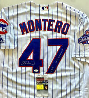 MIGUEL MONTERO Signed World Series Jersey 2016 WS CHAMPS Insc Cubs JSA COA