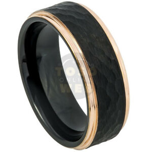 Men's 8mm Stepped Edge w/ Black IP Hammered Brushed Center Tungsten Ring TS6990