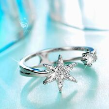 18K White Gold Star hexagon band Simulated Diamond Ring open free size fashion