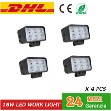 4x Square 18W LED Work Light Faro Da Lavoro LUCE Fari per Auto Trattori 12V 24V