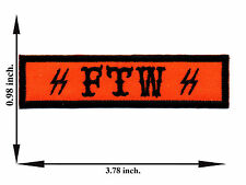 Orange + Black FTW For The Win Champion Biker Outlaw Applique Iron on Patch Sew