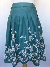 Talbots Women's Embroidered Linen Skirt Lined Side Zipper Teal Size 8 Pleats