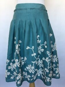 Talbots Women's Embroidered Linen Skirt Lined Side Zipper Teal Size 8 Pleats