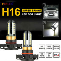 2pcs 5202 H16 LED Fog Light Bulbs set 6000K Xenon White 100W 16000LM High Power