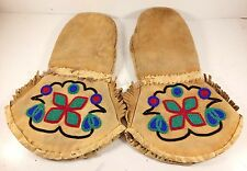 Vintage Native American Inuit Eskimo Beaded Leather Gauntlet Gloves Mittens