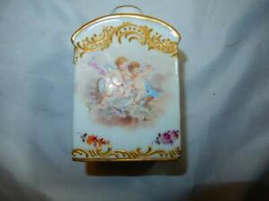 Antique 19th C Paris Porcelain vase Bourdois & Bloch Cherubs signed Tea caddy