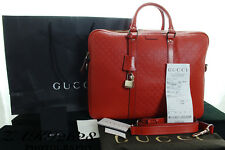 BNWT 100% AUTHENTIC GUCCI ORANGE DIAMANTE LEATHER ZIP TOP BRIEFCASE RRP £1470