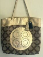 COACH - METALLIC GOLD LEATHER TOTE BAG PURSE - 15013 JULIA OP ART SIGNATURE
