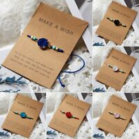 Handmade Make A Wish Natural Stone Braided Bracelet Bangle Women Jewelry Elegant