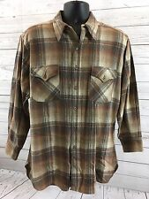 vtg 60s 70s usa made PENDLETON wool board shirt LARGE loop collar surf plaid D
