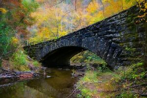 Autumn Photography Print - Picture of Stone Bridge in Great Smoky Mountains