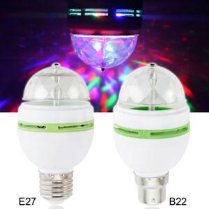 B22 E27 RGB Crystal Ball Auto Rotating LED Stage Light Bulbs Disco Party Lamp S