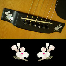 Guitar Bridge Inlay Stickers Decals Floweret (White Pearl) 2pcs/set