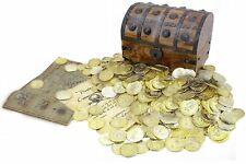 WellPackBox Large Wooden Pirate Treasure Chest Box 150 Gold Coins Map and Pirate