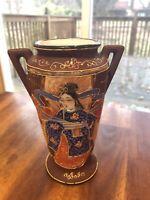 Vintage Hand Painted Japanese Moriage Figure Vase, Nice!