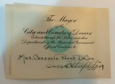 1930`S CARD SIGNED BY MAYOR OF DENVER COLORADO