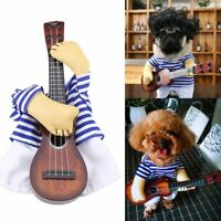 Funny Pet Clothes Guitar Player Costume Cute Dog Cat Party Cosplay Dress S-XL
