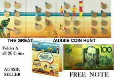 GREAT AUSSIE COIN HUNT FULL SET 26 $1 A- Z COINS & FOLDER 2019 + $100 COL GOLD